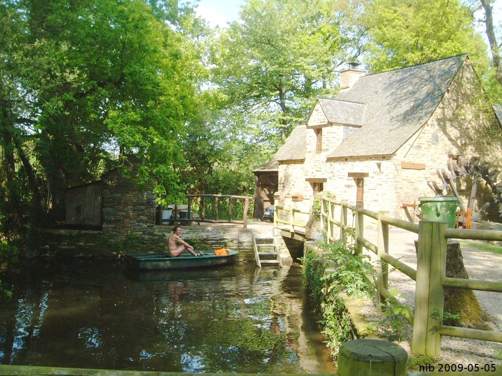 watermill with boat