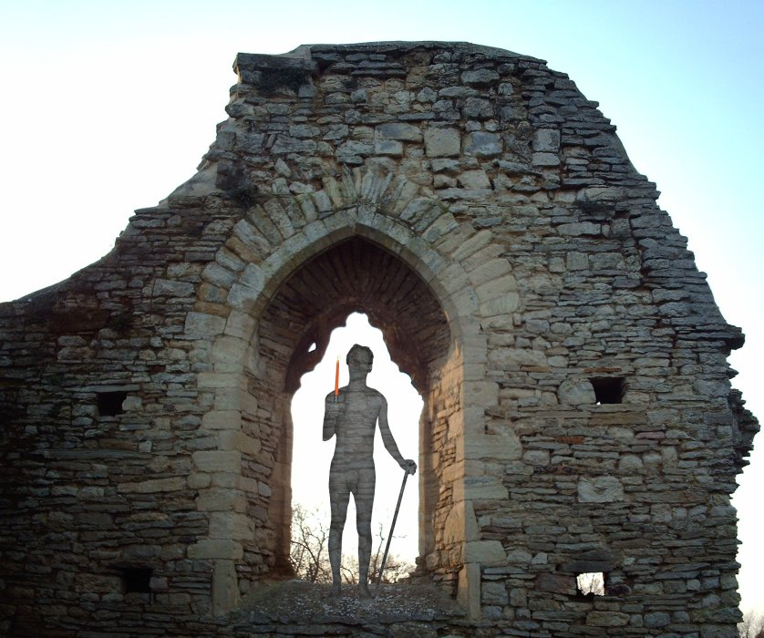 stoned image: nib nude with stone texture framed in backlit window of ruined church